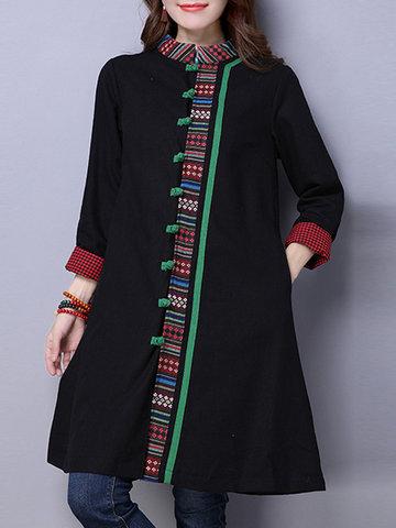 Folk Style Print Patchwork Women Jackets-Newchic-