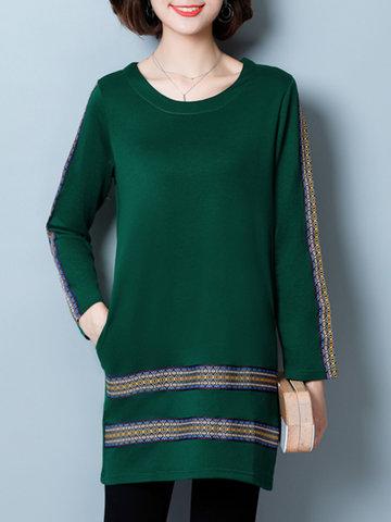 Folk Style Print Patchwork Women T-shirts-Newchic-