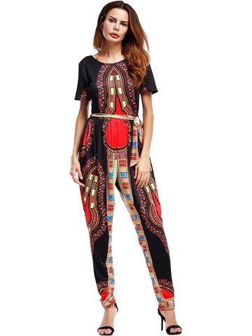 Folk Style Print Short Sleeve O-neck Women Junpsuits-Newchic-