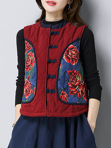 Folk Style Printed Chinese Frog Sleeveless Vest Coat-Newchic-