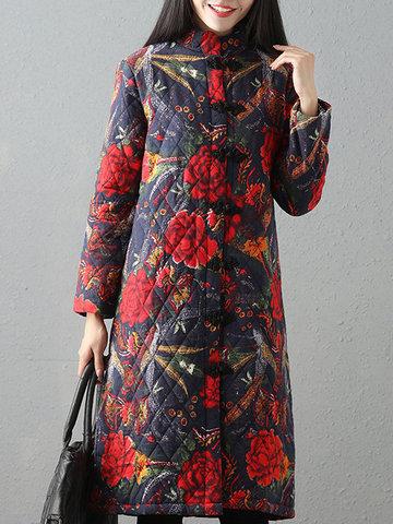 Folk Style Printed Women Cotton Coats-Newchic-