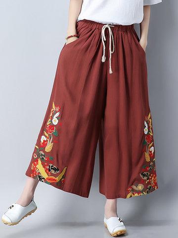 Folk Style Women Embroidery Elastic Waist Drawstring Wide Leg Pants-Newchic-