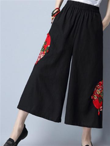 Folk Style Women Patchwork Wide Leg Pants-Newchic-