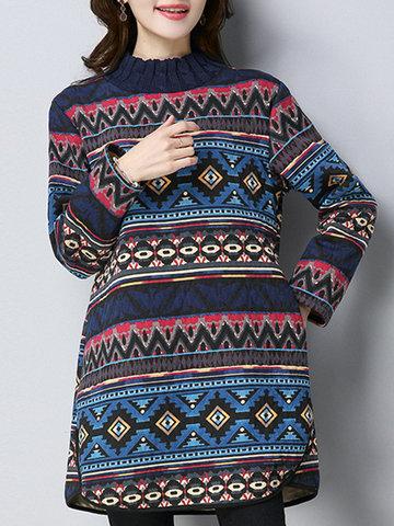 Folk Style Women Printed Blouses-Newchic-