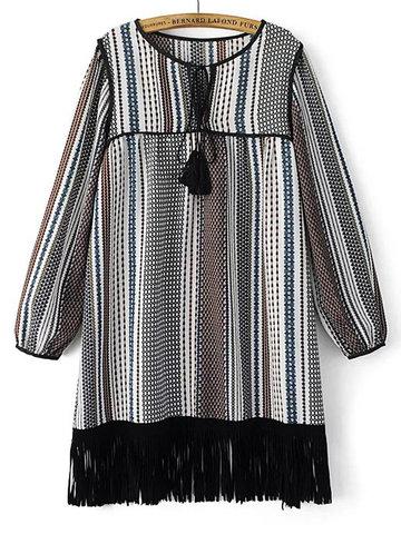 Folk Tassel Ethnic Strip Long Sleeve Tie Women Mini Dress-Newchic-