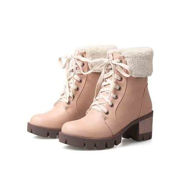 Fur Lining Pure Colour Snow Boots-Newchic-Multicolor