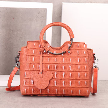 Genuine Leather Brush-off Leather Handbag-Newchic-