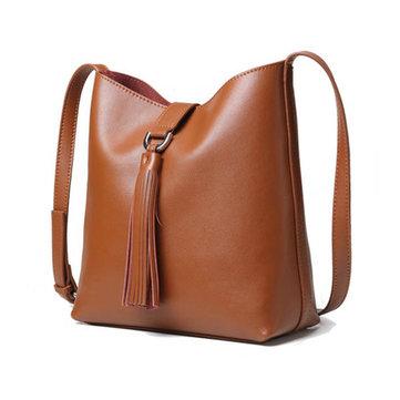Genuine Leather Bucket Bag Vintage Shoulder Bag Crossbody Bags-Newchic-