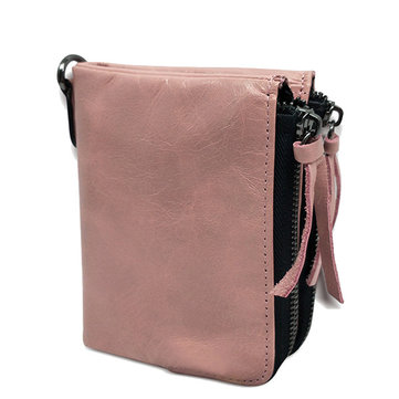 Genuine Leather Double Zipper Short Wallets Two Folded Purse Card Holder Coin Bags-Newchic-