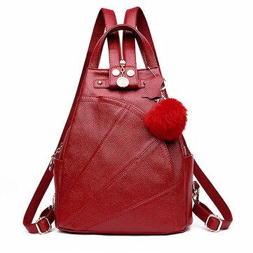 Genuine Leather Vintage Backpack Pure Color Shoulder Bag Chest Bag For Women-Newchic-