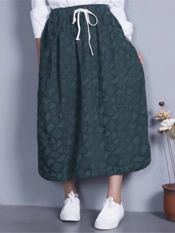 Geometric Drawstring Waist Women Skirts-Newchic-