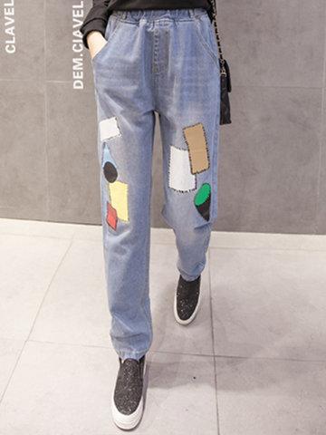 Geometric Patchwork Elastic Women Jeans-Newchic-