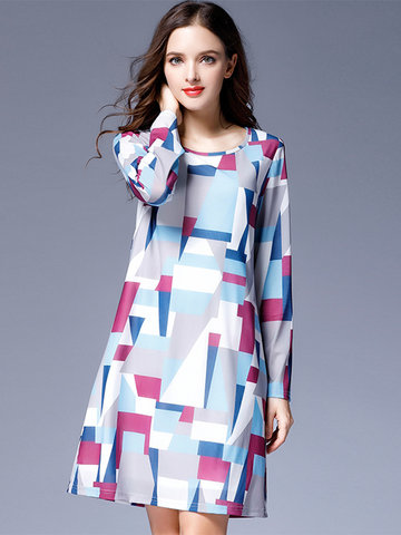 Geometric Prints Plus Size Dress-Newchic-