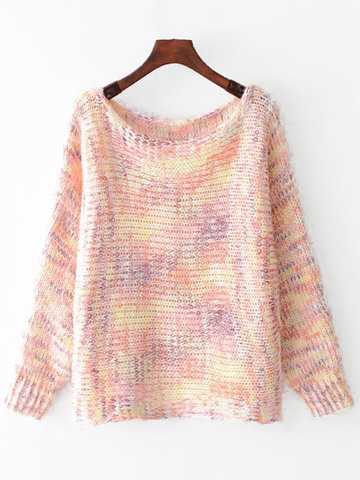 Gradient Long Sleeve Pullover Sweaters-Newchic-