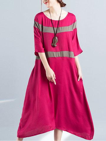 Half Sleeve Loose Maxi Dresses-Newchic-
