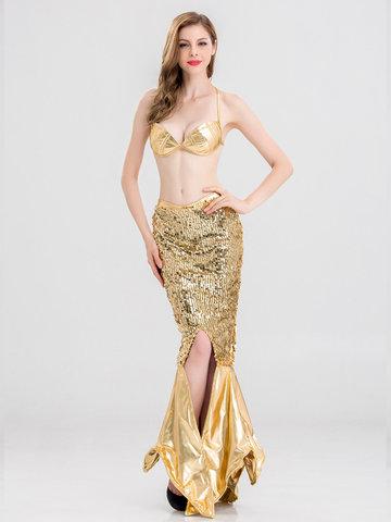 Halloween Mermaid Sequins Two-Piece Suit-Newchic-