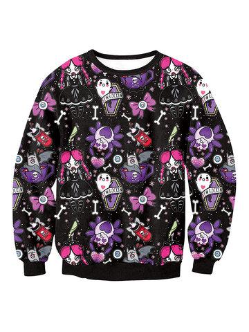 Halloween Printed Pullover Sweatshirts-Newchic-