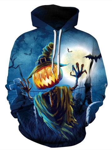 Halloween Pumpkin Pattern Women Hoodie-Newchic-