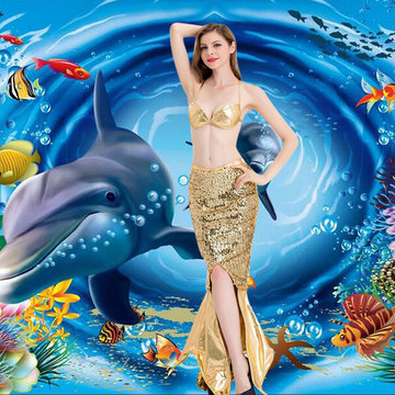 Halloween Sexy Halter Shiny Mermaid Cosplay-Newchic-
