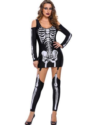 Halloween Skeleton Cold Shoulder Women Jumpsuits-Newchic-