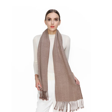 Herringbone Wool Cashmere Checked Plaid Scarf-Newchic-
