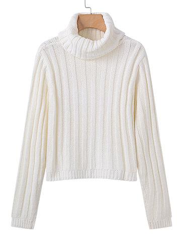 High Collar Long Sleeve Sweaters-Newchic-