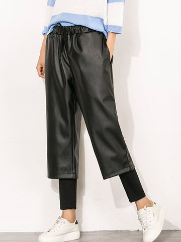 High Waist Fake Two Pieces Pants-Newchic-
