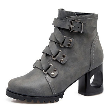 Hollow Chunky Heel Boots-Newchic-Multicolor