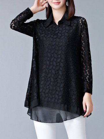 Hollow Out Women Chiffon Blouses-Newchic-