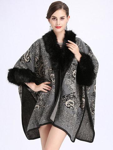Imitation Wool Cardigan Shawl Cloak Coats-Newchic-