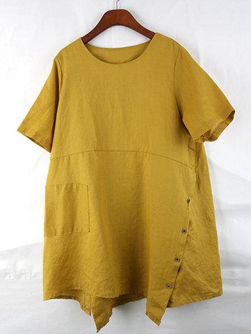 Irregular Hem Short Sleeves Shirts-Newchic-