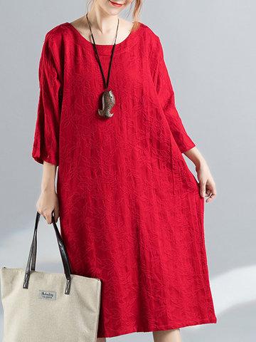 Jacquard 3/4 Sleeve Vintage Dresses-Newchic-