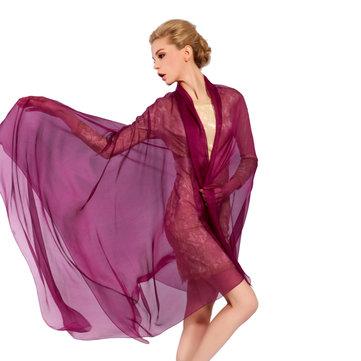 LYZA Women Solid Silk Scarf Shawl 200*140CM Oversize Design Scarves Wraps Sunshade Shawls-Newchic-