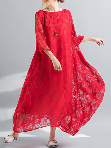 Lace Floral Irregular Women Dresses-Newchic-