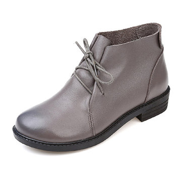 Large Size Cow Leather Boots-Newchic-Multicolor