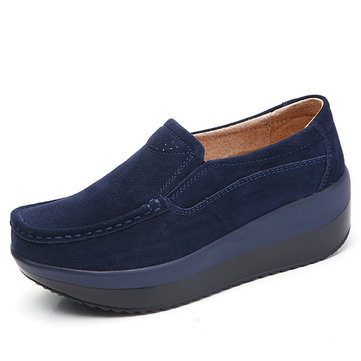 Large Size Rocker Sole Suede Slip On Casual Shoes-Newchic-Multicolor