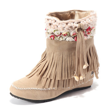 Large Size Tassel Boots-Newchic-Multicolor
