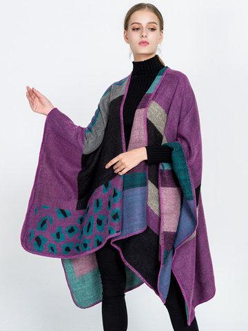 Leopard Striped Printed Knitted Cloak Shawl-Newchic-