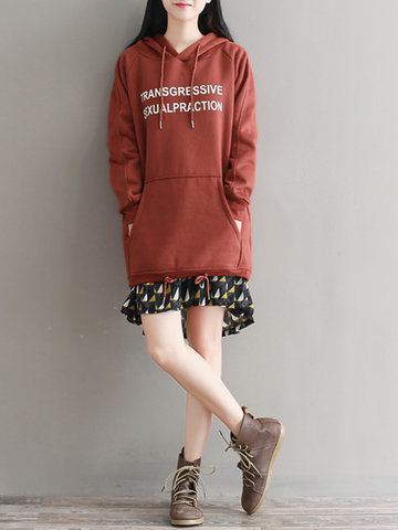 Letter Drawstring Hooded Women Sweatshirts-Newchic-