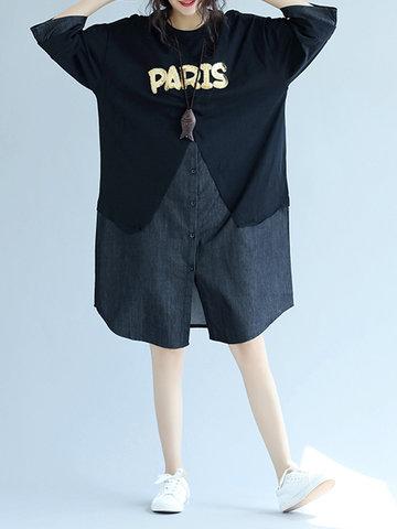 Letter Patchwork Women Dresses-Newchic-