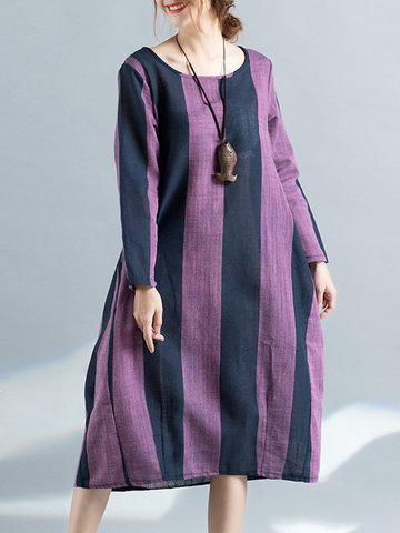 Literary Stripe Patchwork Print Dresses-Newchic-