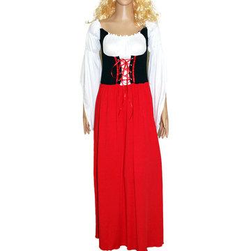 Long Sleeves Drawstring Elastic Dress Set Costume-Newchic-