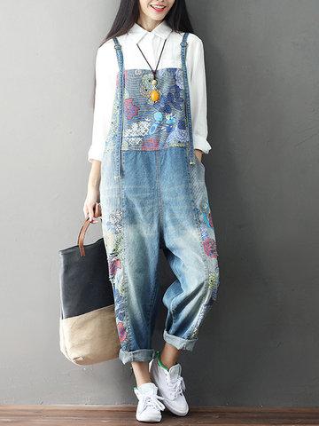 Loose Print Strap Pocket Denim Jumpsuit-Newchic-
