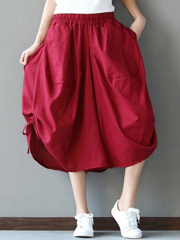 Loose Solid Folk Style Pocket Side Slit Women Pants-Newchic-