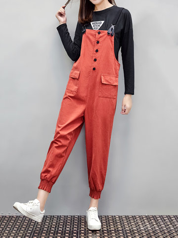 Loose Strap Pockets Jumpsuits-Newchic-