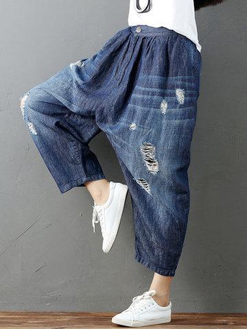 Loose Women Elastic Waist Hole Wide Leg Denim Pants-Newchic-