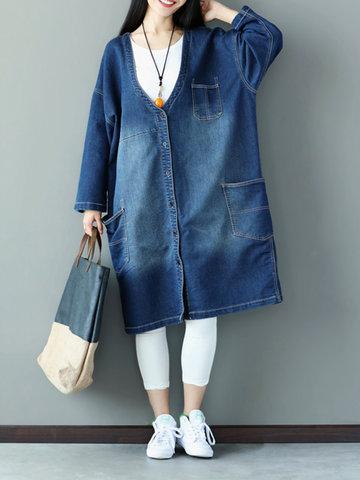 Loose Women Printed Stitching V-Neck Denim Jacket-Newchic-