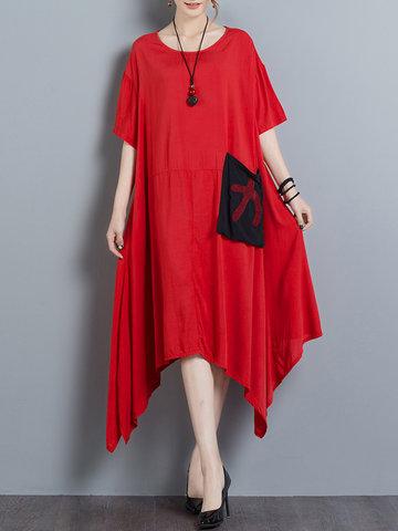 Loose Women Solid Short Sleeve O-Neck Irregular Dress-Newchic-