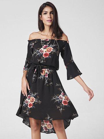 Lztlylzt Floral Print Off-shoulder Irregular Horn Sleeve Women Dress-Newchic-