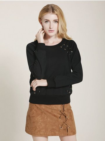 Lztlylzt Women Casual Cross Strap O-neck Long Sleeve Sweatshirt-Newchic-